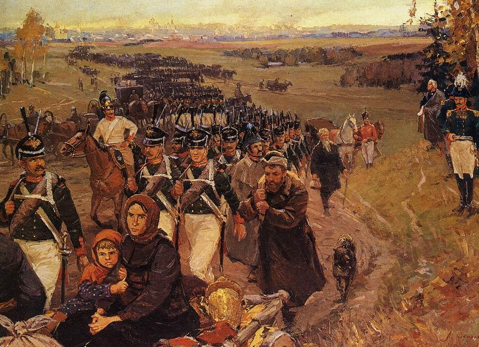 Армия и жители Москвы покидают город после совета в Филях