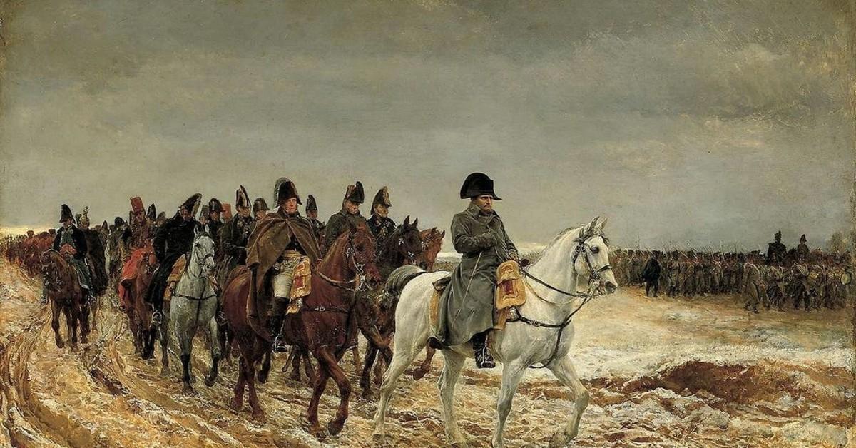 Наполеон покидает Москву в 1812 году