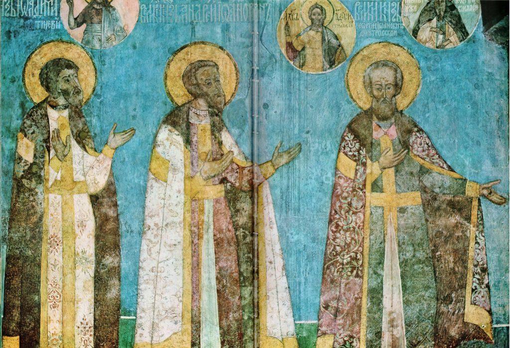 портреты князей на стенах Архангельского собора