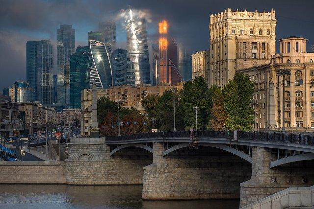 Красивый вид на Москва Сити